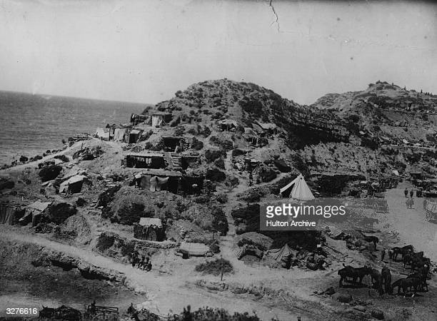Men of the 42nd East Lancashire Division encamped at Gully Reach in Gallipoli