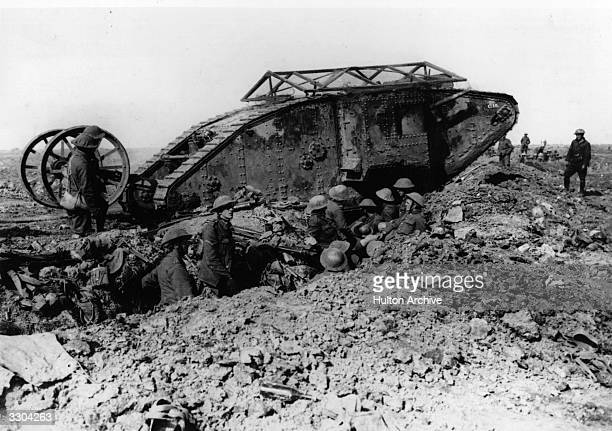 A British tank crossing the trenches in Flanders