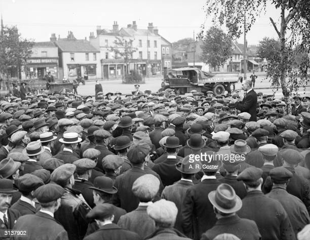 Transport workers holding a strike meeting at Mitcham Green