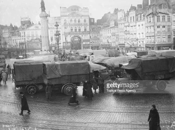 Allied trucks in a square in Lille