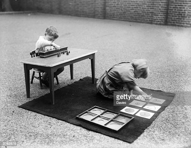 Children develop their problem solving skills by playing games that are both educational and fun, at a Montessori school.