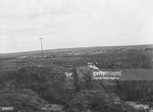 Tank tracks left after the Hindenburg line, a series of trenches in Northern France, was crossed.