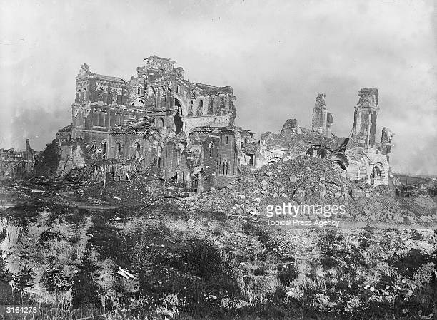 The ruins of the cathedral in Albert on the Somme the site of fierce fighting during the first world war