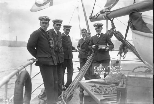 Members of the team which took part in the Shackleton- Rowett Antarctica Expedition, Captain Douglas, Commander D Keffrey, Commander Wild, Captain...