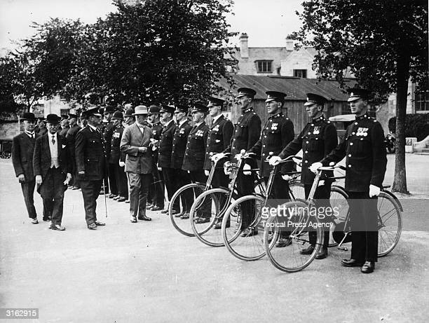 The Plymouth Police Force on parade for HM inspector Sir Leonard Dunning during their annual inspection at the Citadel