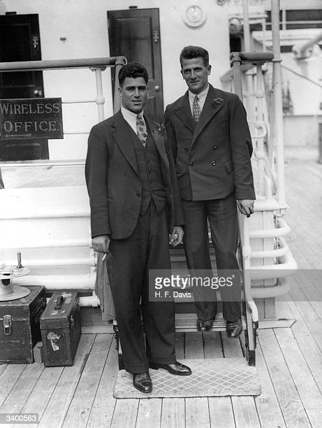 English cricketers, Bill Voce and Harold Larwood, on board the 'Orantes', en route to Australia.