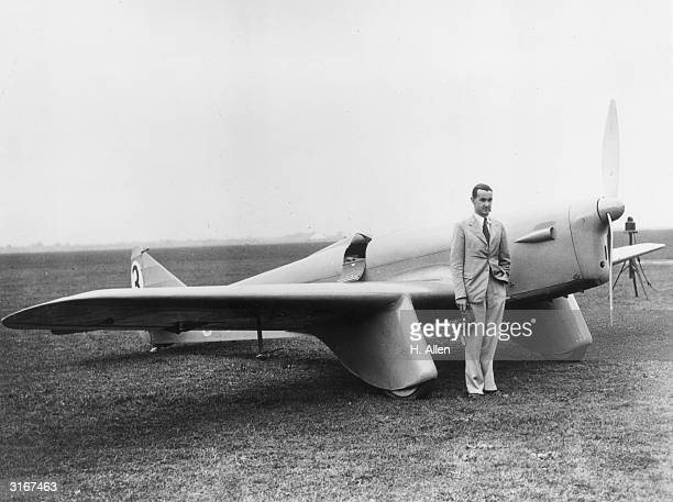 Air racer Victor Smith standing next to his Sparrowhawk aeroplane before the Portsmouth to Johannesburgh flight