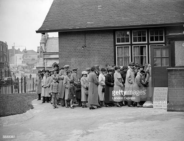 People queuing for a Daily Express television showroom in Harrow Greater London