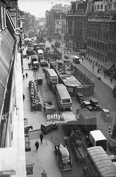 A view down Farringdon Street London showing part of a two mile traffic jam caused by road works