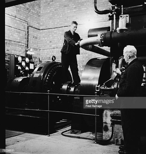 Engineers maintaining the generator in a subterranean chamber at Manod Quarry north Wales where paintings from the National Gallery have been moved...