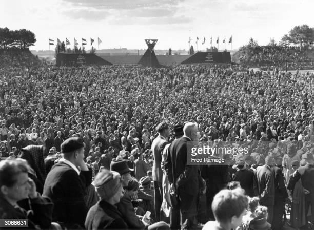 A mass antifascist rally in Berlin's WernerSeelenbinder Stadium