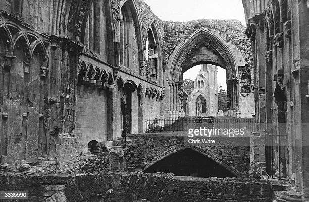 Ruined interior of St Mary's Chapel in Glastonbury looking east