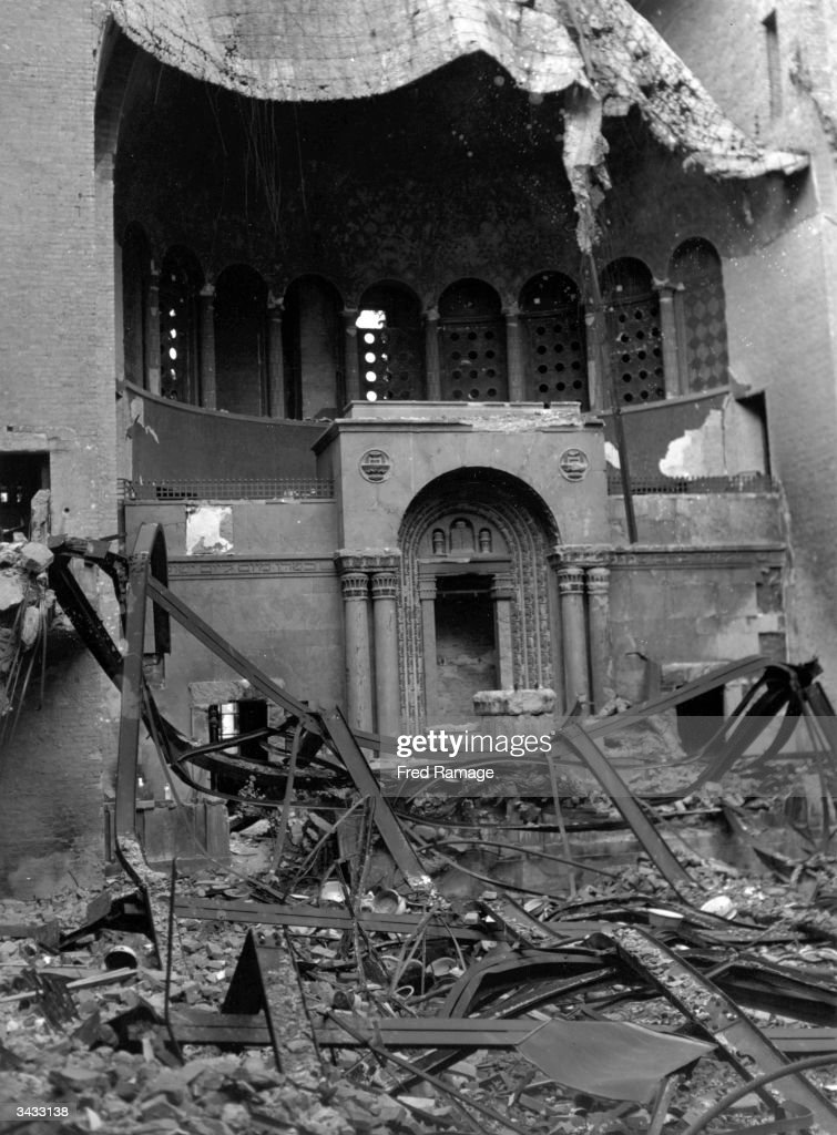 The ruins of the Tielshafer Synagogue in Berlin, burnt by the Nazis on 'Kristallnacht' in November 1938. Property confiscated from Jews was stored here, but all was destroyed when it bombed by the Allies in 1944. Services are now held in a newly reconstructed synagogue.
