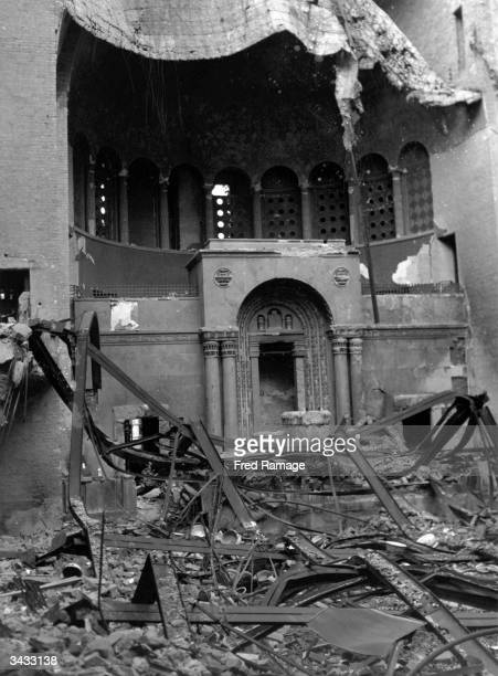 The ruins of the Tielshafer Synagogue in Berlin burnt by the Nazis on 'Kristallnacht' in November 1938 Property confiscated from Jews was stored here...