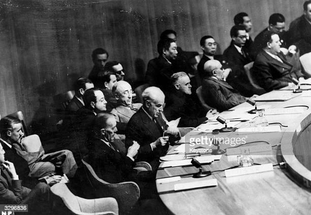 At the meeting of the UN Security Council in New York are from left the British diplomat Sir Alexander Cadogan American representative to the United...