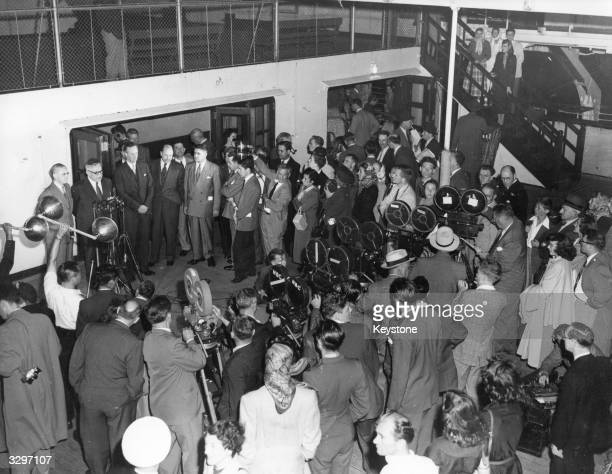 The British Foreign Secretary Ernest Bevin and Chancellor of the Exchequer Sir Richard Stafford Cripps on arrival in New York for talks on the dollar...