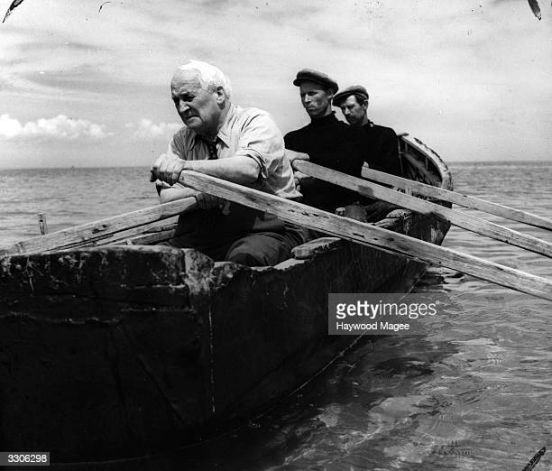 US film director Robert Flaherty who directed the film 'Man of Aran' in 1934 on a return visit to the Aran Islands in County Galway Original...
