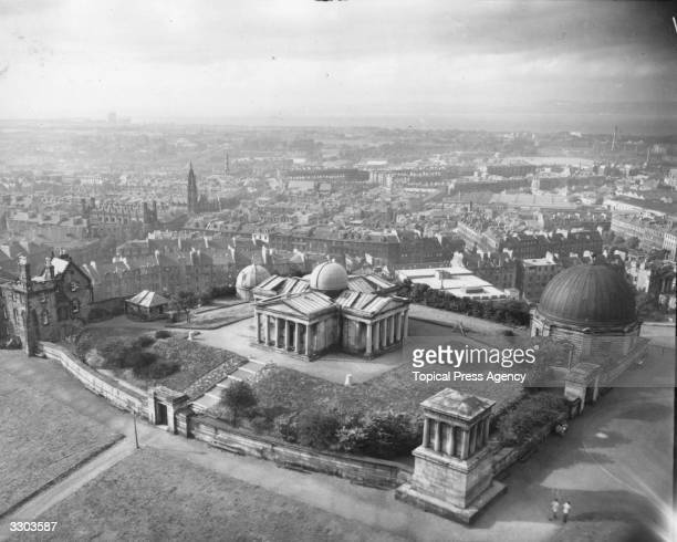 Edinburgh looking north west from the Nelson Monument with the Royal Observatory in the foreground on Calton Hill. The Royal Observatory was designed...
