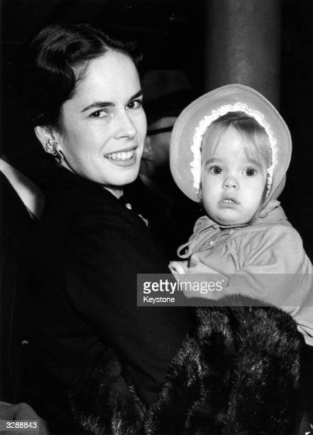 Oona Chaplin with her daughter Victoria whose famous father is Sir Charles Spencer Chaplin the English film actor and director They have just arrived...