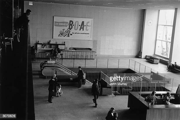General enquiries desk at London Airport Original Publication Picture Post 8438 prosperity Story unpub
