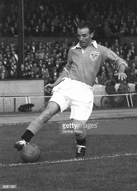 English football player Stanley Matthews of Blackpool and England in action