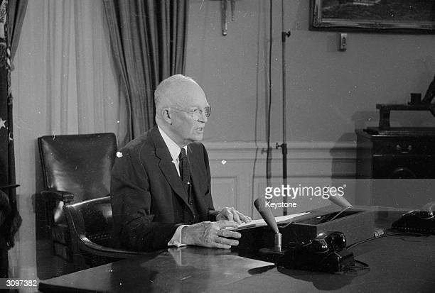 American President and former Allied General Dwight D Eisenhower addressing the nation on American intervention in Formosa