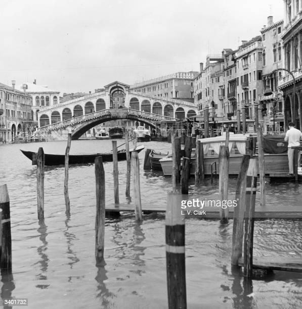 The Rialto Bridge spanning the Grand Canal in Venice