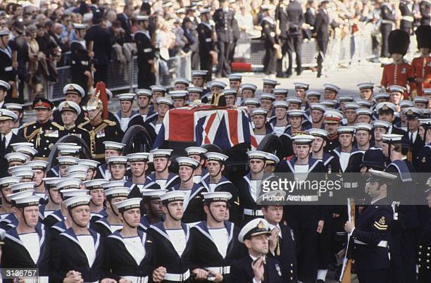The coffin of Lord Louis Mountbatten being carried through the streets of London The last Viceroy of India he was murdered by the IRA while on...