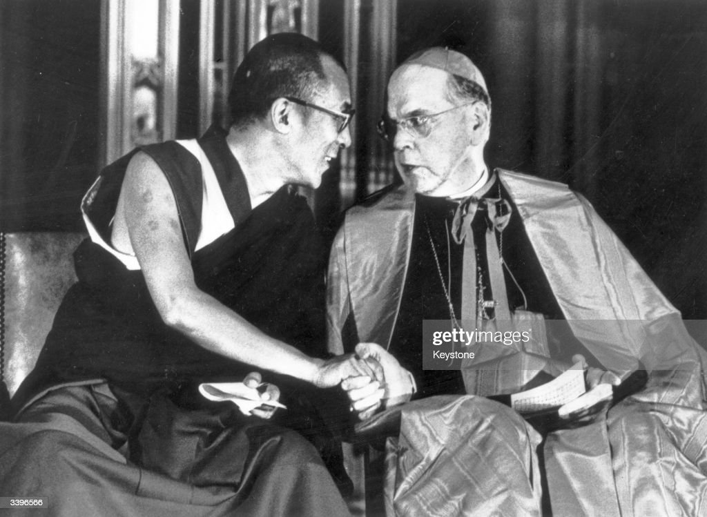 Tibet's 14th Dalai Lama, Tenzin Gyatso in St Patrick's Cathedral with Cardinal Terence Cook, Archbishop of New York, during a visit to the city.