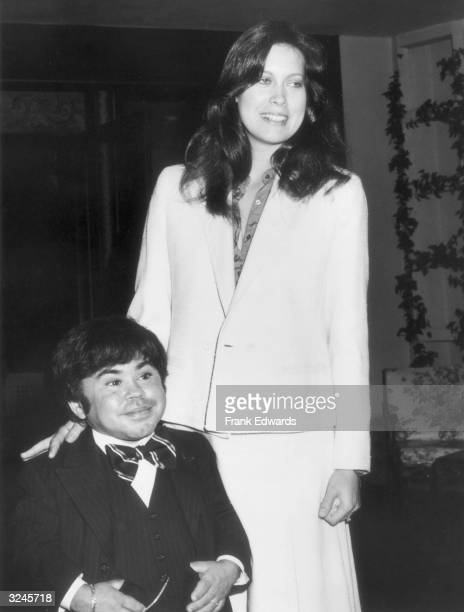 French-born actor Herve Villechaize and his wife, Camille Hagan, attend brunch at the Beverly Hills Hotel, California.