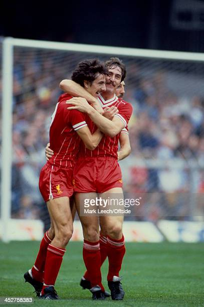 18 September 1982 English Football League Division One Swansea v Liverpool Ian Rush is hugged by David Hodgson after scoring a goal for Liverpool