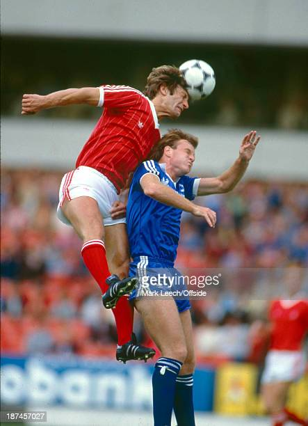 04 September 1982 Football League Division One Nottingham Forest v Brighton Hove Albion Forest defender Colin Todd outjumps Andy Ritchie to get his...
