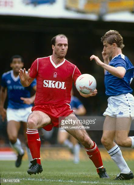 08 September 1985 Football League Division One Leicester City v Nottingham Forest The balding Johnny Metgod of Forest challenges for the ball