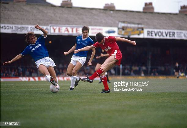 08 September 1985 Football League Division One Leicester City v Nottingham Forest A shot from Peter Davenport goes under the foot of City defender...