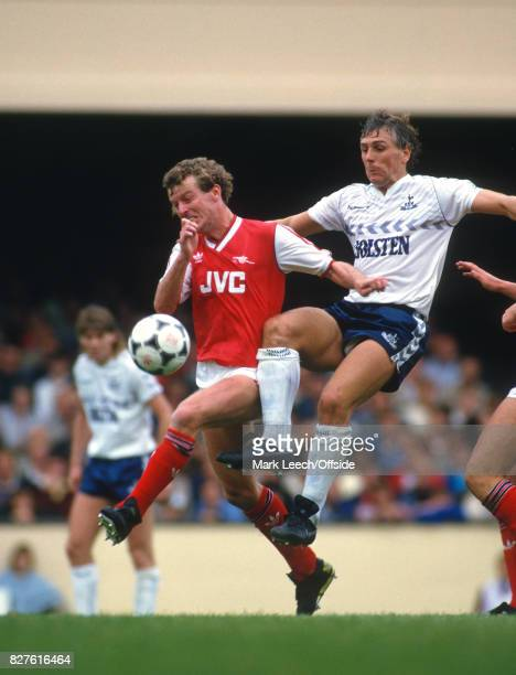 06 September 1986 Football League Division One Arsenal v Tottenham Hotspur Graham Roberts of Tottenham launches a tackle from behind on Graham Rix...