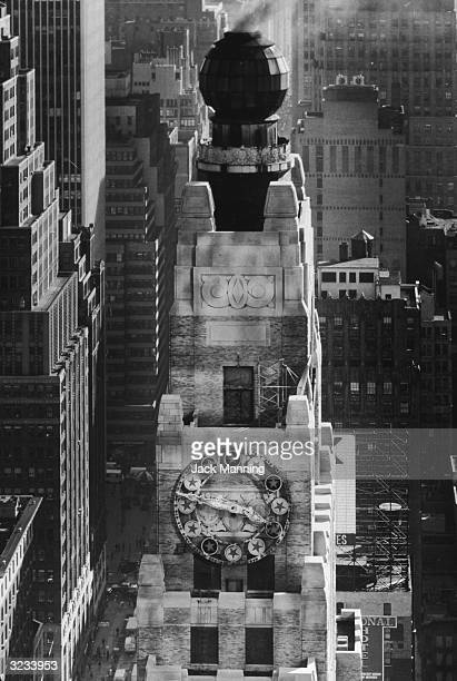 Highangle view of the rooftop and chimney of the Paramount Building on the west side of Broadway between 43rd and 44th Streets midtown Manhattan New...
