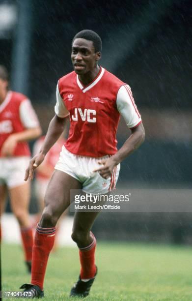 10 September 1986 Reserve team football Arsenal v Oxford United Arsenal defender Gus Caesar standing in the rain