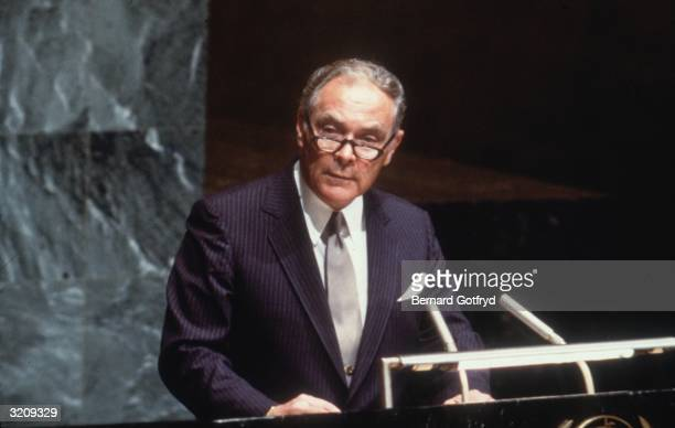 Alexander Haig who served as President Reagan's Secretary of State from 1981 to 1982 speaking at the United Nations New York City