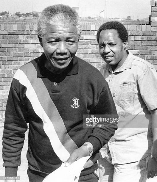 ANC deputy president Nelson Mandela leads Umkhonto we Sizwe chief of staff Chris Hani to face the media at the Mandela home in Orlando West yesterday...