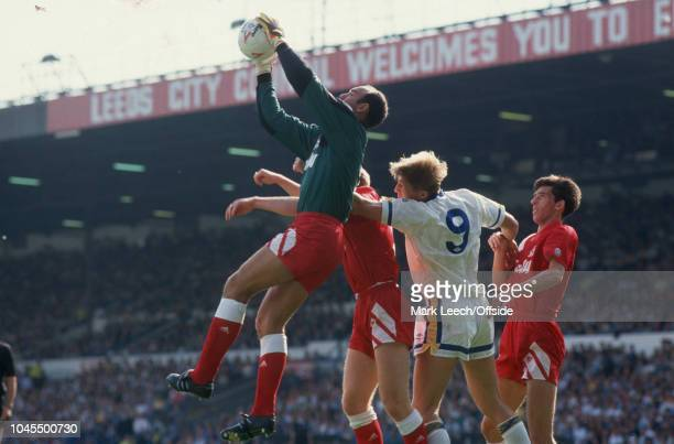 21 September 1991 Football League Division One Leeds United v Liverpool Liverpool goalkeeper Bruce Grobbelaar catches the ball watched by Lee Chapman...