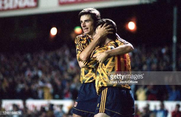 18 September 1991 London European Cup Football Arsenal v FK Austria Wien Anders Limpar of Arsenal celebrates scoring their 4th goal with Alan Smith