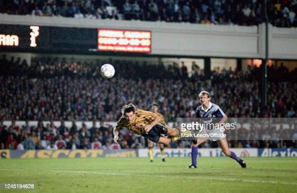 18 September 1991 London European Cup Football Arsenal v FK Austria Wien Anders Limpar of Arsenal scores their 4th goal