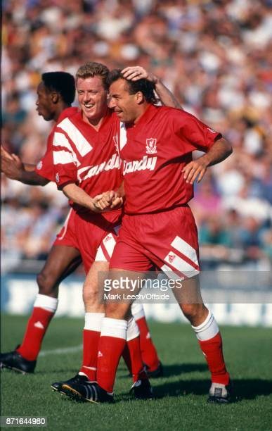 Football League Division One Notts County v Liverpool FC Steve Nicol of Liverpool celebrates with goal scorer Ronnie Rosenthal