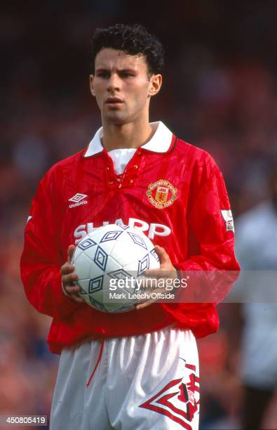 06 September 1992 Premiership football Manchester United v Leeds United Ryan Giggs holds the Umbro matchball