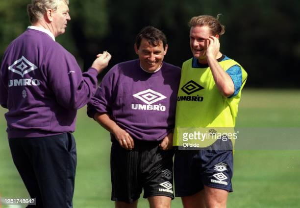 September 1993 England Football squad training at Bisham Abbey; Paul Gascoigne enjoys a laugh with manager Graham Taylor with Lawrie McMenemy on the...
