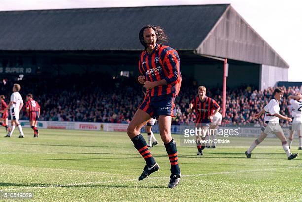 04 September 1993 Scottish Premier League Dundee FC v Rangers FC Mark Hateley of Rangers celebrates his goal