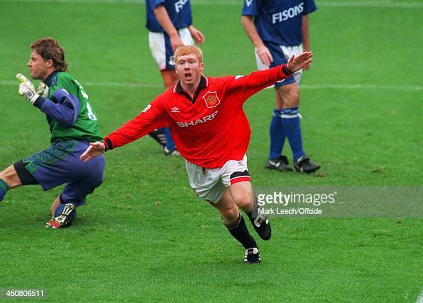 24 September 1994 FA Premiership Ipswich Town v Manchester United Paul Scholes runs away in celebration as he scores a goal for United