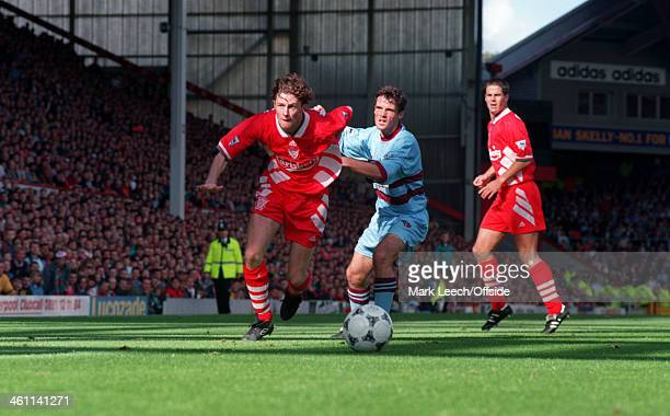 10 September 1994 Premiership Liverpool v West Ham United Steve Mcmanaman of Liverpool races away with the ball at his feet