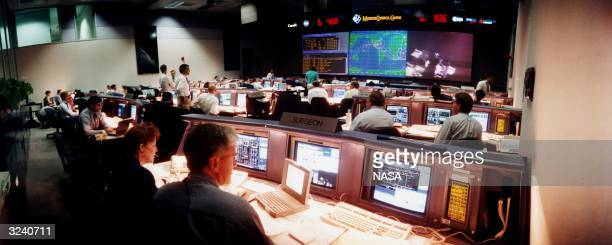 The new Mission Control Centre of the Johnson Space Centre in Houston Texas Flight controllers monitor operations on the Spartan 20301 satellite...