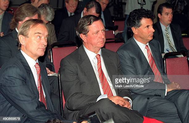 22 September 1996 Arsenal Secretary Ken Friar Arsenal Chairman Peter HillWood and Arsenal Vice Chairman David Dein listen to newly appointed manager...